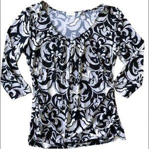 NY&CO Gray Paisley Print 3/4 Sleeve Top XL EUC